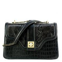 Μαύρη κροκό τσάντα