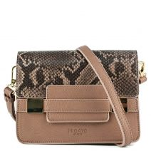 Taupe handbag with snake flap