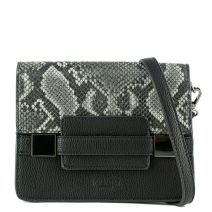 Black handbag with snake flap