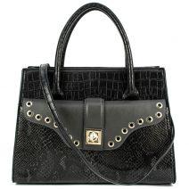 Μαύρη κροκό τσάντα χειρός