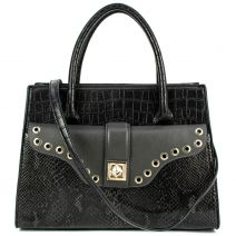 Black croc handbag