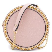 Pink round shaped crossbody bag