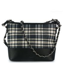 Black check fabric crossbody