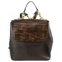 Brown backpack with croc flap