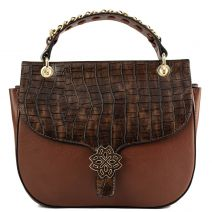 Brown handbag with croc flap