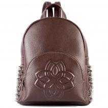 Brown backpack with embossed flower