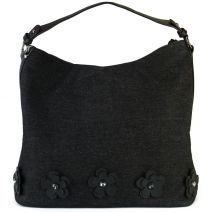 Black denim hobo with flowers