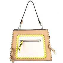Nude handbag with binded edges