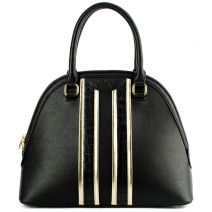 Black handbag with metallic stripes