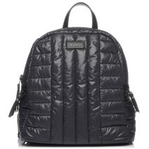Black textile quilted backpack