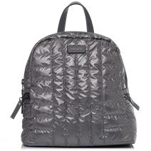 Pewter textile quilted backpack