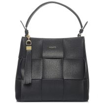 Black woven shoulder bag