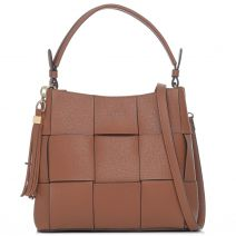 Tan woven shoulder bag