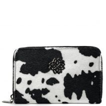 Black and white cow-hair wallet