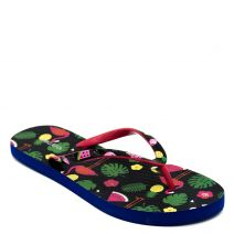 Women's flip-flop with black thong and summer print