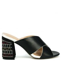 Black high heel sandal with rhinestones