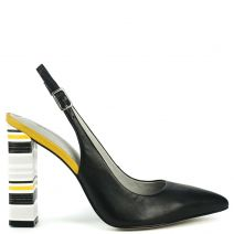 Black slingback pump with stripped heel