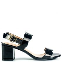 Black high heel sandal in patent