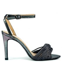 Pewter metallic high heel sandal