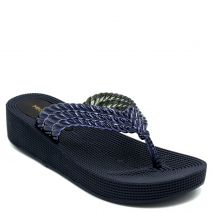 Women's navy flip-flop with braided thong