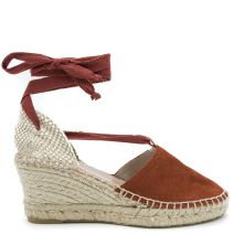 Red leather espadrille