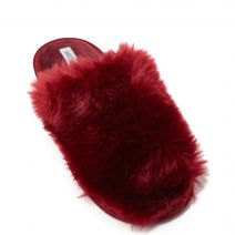 Dark red fur slipper
