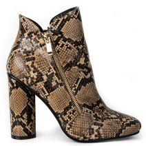 Brown snakeskin high heel bootie