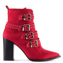 Red western bootie with studs