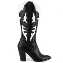Ασπρόμαυρη western μπότα