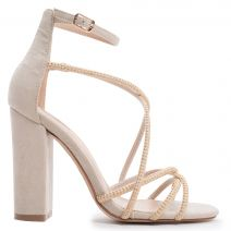 Beige multistrap sandal with studs