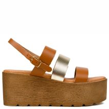 Brown/ Gold leather flatform