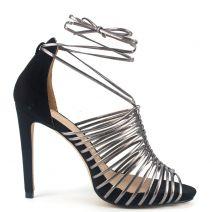 Black multistrap lace up sandal
