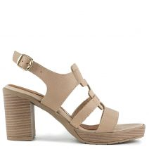 Beige leather high heel sandal