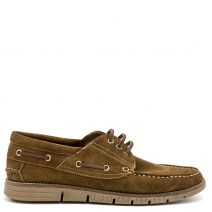 Men's tan suede boat shoe