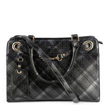Grey metallic check handbag