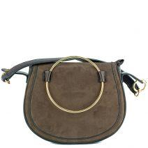Brown handbag with metallic hoop
