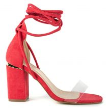 Red suede lace up sandal