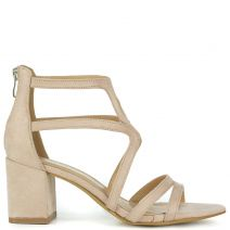 Nude high heel sandal in suede