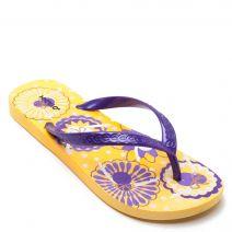Women's purple flip-flop with floral print