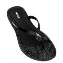 Women's black flip-flop with thong