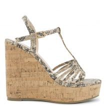 Beige snakeskin wedge
