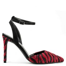 Red animal print pump