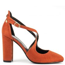 Orange cross strap pump