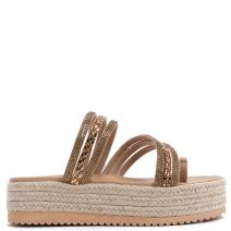 Flatform slide sandal in nude with rhinestones