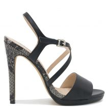 Black snakeskin high heel sandal