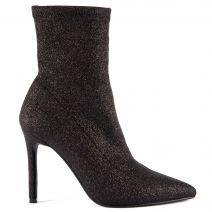 Black elastic high heel bootie