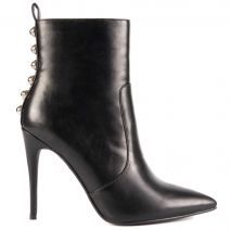 Black high heel bootie with studs