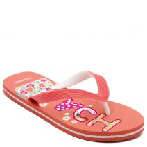 Women's coral flip-flop with engraved design