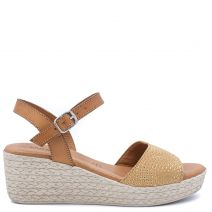 Beige leather wedge