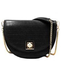 Black croco textured crossbody bag